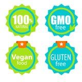 OGM gratuit, 100 Natutal, nourriture de Vegan et ensemble de label gratuit de gluten Images libres de droits
