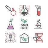 OGM Organisme génétiquement modifié Ligne icônes réglées Signes de vecteur pour des graphiques de Web illustration libre de droits