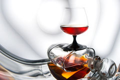 Brandy (whiskey), cognac in a bottle and glass Stock Image