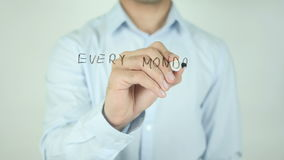 Ogni lunedì è una nuova probabilità, scrivente sullo schermo trasparente stock footage