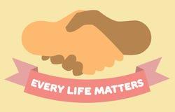 Ogni vita importa manifesto Stretta di mano e nastro Mani dei colori differenti royalty illustrazione gratis