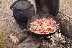 ogniska kucharstwo Zdjęcie Royalty Free