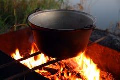 ognisko kettle Obrazy Royalty Free