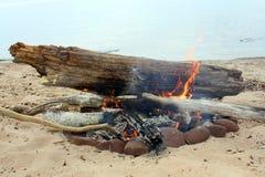 Ognisko na plaży Obraz Stock