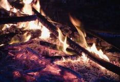 Ognisko przy nocą, płonący nieżywi drzewa, fotografia nabierająca UK obrazy stock