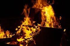 Ognisko przy noc obraz stock