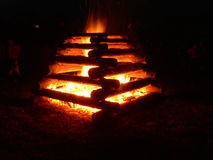Ognisko przy noc Fotografia Royalty Free
