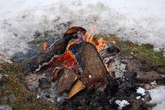 Ognisko w zimie Zdjęcia Royalty Free