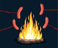 Ognisko z grill kiełbasą, ilustracja wektor