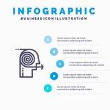 Ogniskowań rozwiązania, biznes, wysiłek, ostrość, ogniskowanie Kreskowa ikona z 5 kroków prezentacji infographics tłem ilustracja wektor