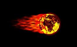 ognista kula meteoru świat Zdjęcie Royalty Free
