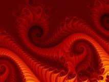Ognisty czerwony abstrakcjonistyczny fractal tło z wirować wzory, przypomina pożarniczego smoka Obrazy Stock