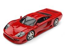 Ognisty czerwony nowożytny super samochód wyścigowy - odgórny piękno strzał royalty ilustracja
