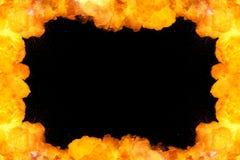 Ognisty ramowy tło na czerni Zdjęcie Royalty Free