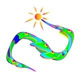Ognuno gode del sole e del paesaggio, vettore La luce solare luminosa di pendenza si è sviluppata a spirale fiume del prato e cas Immagini Stock Libere da Diritti