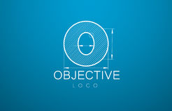 Ogo template letter. Logo template letter `O`  in the style of a technical drawing. sign design and the text `objective` with dimension lines. Vector Royalty Free Stock Photos
