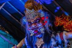 Ogoh-Ogoh,为Ngrupuk游行做的邪魔雕象被举办在Nyepi天的前夕 特写镜头 图库摄影