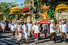Ogoh-ogoh and Nyepi day parade. UBUD, BALI - MARCH 16: Balinese villagers participating in traditional religious Hindu procession before Ogoh-ogoh parade and Stock Image