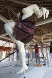 Ogoh Ogoh statue being created by Hindu Bali villagers in preparation for Pengrupukan night. Bali, Indonesia – March 9 2018. Ogoh Ogoh statue being created by Stock Images