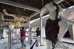 Ogoh Ogoh statues being created by Hindu Bali villagers in preparation for Pengrupukan night. Bali, Indonesia – March 9 2018. Ogoh Ogoh statues being created Stock Photo