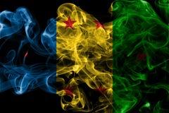 Ogoni Kingdom smoke flag, dependent territory flag. On a black background Stock Photos