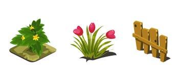 Ogródów kwiaty i ogrodzenie, gemowi interfejs użytkownika natury elementy dla wideo gra komputerowa wektoru ilustraci ilustracji
