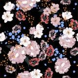 Ogród Bezszwowy orientalny wzór z kwitnącymi motywami Kwitnąć Obrazy Royalty Free