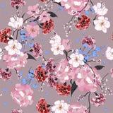 Ogród Bezszwowy orientalny wzór z kwitnącymi motywami Kwitnąć Obrazy Stock