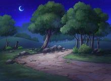 Ogród kopa i drzewa przy nocą ilustracja wektor