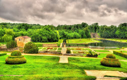 Ogród przy Górską chatą De Los angeles Roche Courbon Obraz Stock