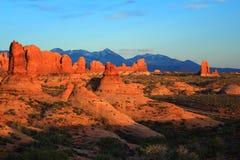 Ogród Rajski w wieczór świetle, łuki parki narodowi, Utah fotografia stock