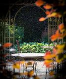 Ogród z krzesłami i stołem po środku krzaków w kolorze zdjęcia stock