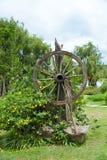 Ogród z starym drewnianym kołem fotografia stock