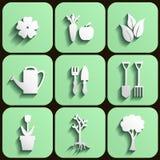 Ogródu i natury ikony set ilustracji