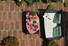 Ogródu set z jedzeniem na stole Zdjęcie Royalty Free