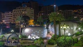 Ogródy Monte, Carlo nocy timelapse od wierzchołka - zdjęcie wideo
