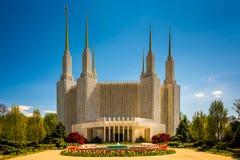 Ogródy przed washington dc mormonu świątynią w Kensingto zdjęcie stock
