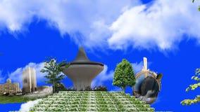 Ogródy różani i widoki Jeddah z błękitnym ekranem ilustracji