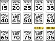ograniczenia prędkości s oznak u Fotografia Stock