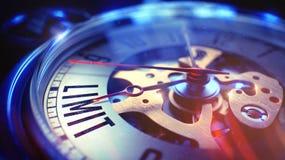 Ograniczenie - inskrypcja na rocznika zegarku 3 d czynią Obraz Stock