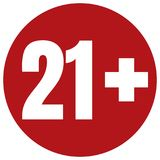 Ograniczenie pełnoletnia ikona na czerwonym tle Ikona limita wieku wektorowa płaska ilustracja Zdjęcia Royalty Free