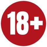 Ograniczenie pełnoletnia ikona na czerwonym tle Ikona limita wieku wektorowa płaska ilustracja Obrazy Royalty Free