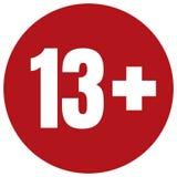 Ograniczenie pełnoletnia ikona na czerwonym tle Ikona limita wieku wektorowa płaska ilustracja Zdjęcie Stock