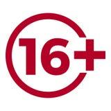 Ograniczenie pełnoletnia ikona na czerwonym tle Ikona limita wieku wektorowa płaska ilustracja Fotografia Stock