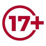 Ograniczenie pełnoletnia ikona na czerwonym tle Ikona limita wieku wektorowa płaska ilustracja Obraz Stock