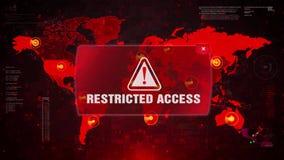 OGRANICZONY dostępu ostrzeżenia ostrzeżenia atak na Parawanowej Światowej mapie ilustracji