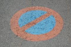 Ograniczony parking strefy znak na ziemi zdjęcia royalty free