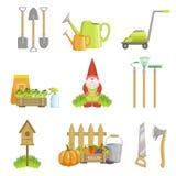 Ogródy Odnosić sie przedmioty Ustawiający Zdjęcie Stock