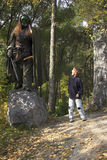 Ogre and boy in the forest Stock Photography