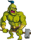 Ogre dos desenhos animados com um martelo grande Imagens de Stock Royalty Free